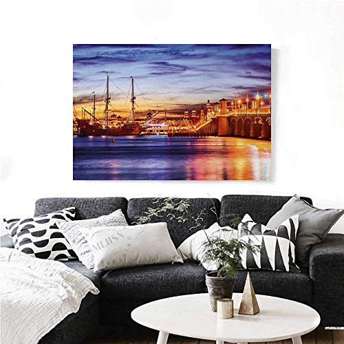 homehot United States The Picture for Home Decoration St. Augustine Florida Famous Bridge of Lions Dreamy Sunset Majestic Customizable Wall Stickers 36