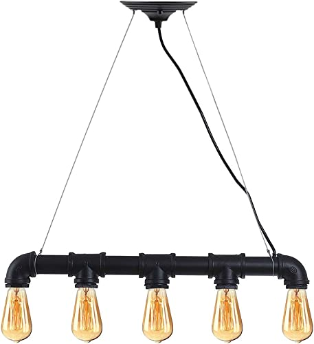 WINSOON Industrial Steampunk LAMP Iron Pipe Ceiling Island Fixture Pendant Light Vintage Retro Black
