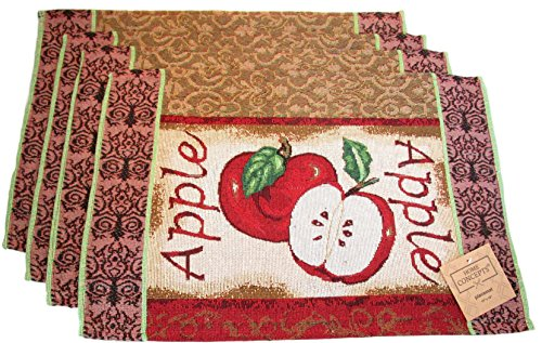 Everyday Woven Tapestry Place Mats - Set of 4 (Red Apple Slice) - Apple Placemat