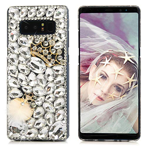Maviss Diary Galaxy Note 8 Case, Samsung Galaxy Note 8 Case, Luxury 3D Handmade Bling Crystal Rhinestone Full Diamonds White Gems Crown and Fox with Fluff Hard PC Plastic Clear Protective Cover