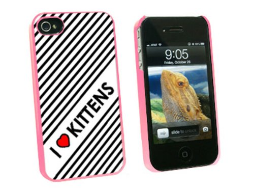 Graphics and More I Love Heart Kittens Cats Snap-On Hard Protective Case for Apple iPhone 4/4S - Non-Retail Packaging - Pink