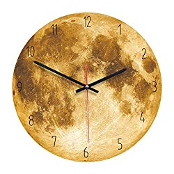 Succper Luminous Moonlight Wall Clock 3D Watch Moon Glow in The Dark Clock Kids Boys, Girls, Baby Playroom Orange, Blue, Gray, Four Colors