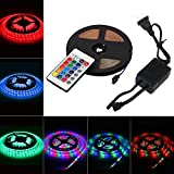 ELEOPTION Flexible Led Strip Lights Kit Power Supply 5 Meters 270 LEDs SMD 2835 Waterproof With Remote Control RGB Color for Car TV Bathroom Outdoor Indoor Decoration