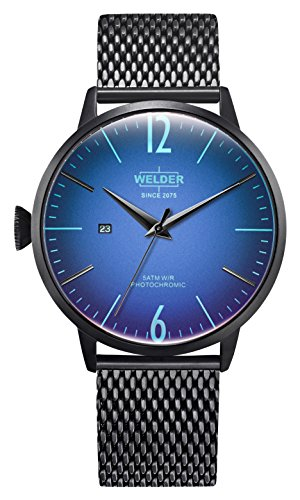 Welder Moody Stainless Steel Black Mesh 3 Hand Watch with Date 45mm