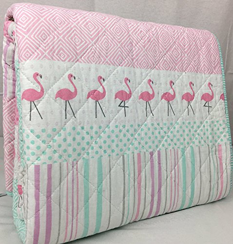 BOATHOUSE for Kids 100% Cotton Reversible Twin Quilt Set Summer Flamingo Pink Mint Green White Multi Stripes Geometric Pattern