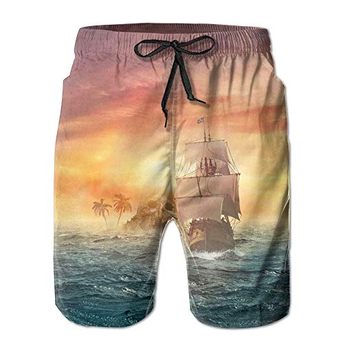 (TONICCN Pirate Ship Skull Island Men's Beach Pants Swimming Trunks Quick Dry Boardshorts with)