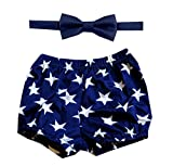 Gentlemen Ties Cake Smash Outfit Boy First Birthday Includes Bloomer Shorts and Bow Tie (US Stars Navy White Shorts and Navy Blue Bow)