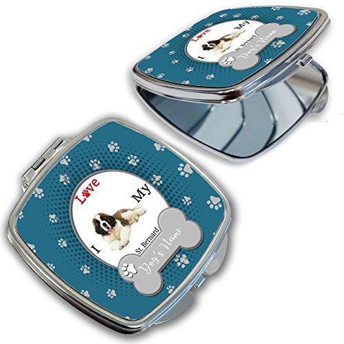 (BleuReign(TM) Personalized Custom Name I Love My Dog St. Bernard Compact Mirror)