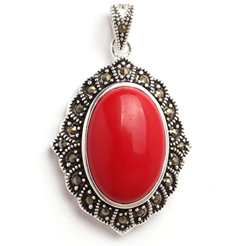 GEM-inside 26x42mm Oval Manmade Red Coral Beads Marcasite Tibetan Tibetan Silver (Red Coral Oval Pendant)