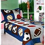 Elegant Home - Colcha de 2 Piezas para niños y Adolescentes, diseño de balón de Baloncesto, Twin Size