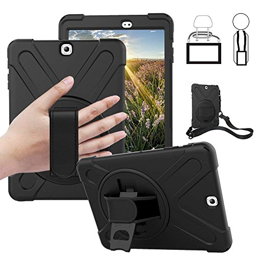 se - Dropproof Shockproof Heavy Duty Tablet Cover Rotatable Kickstand Handle Stand Hand Strap Shoulder Belt Carrying Case for Samsung SM-T810/T813/T815/T819C 9.7