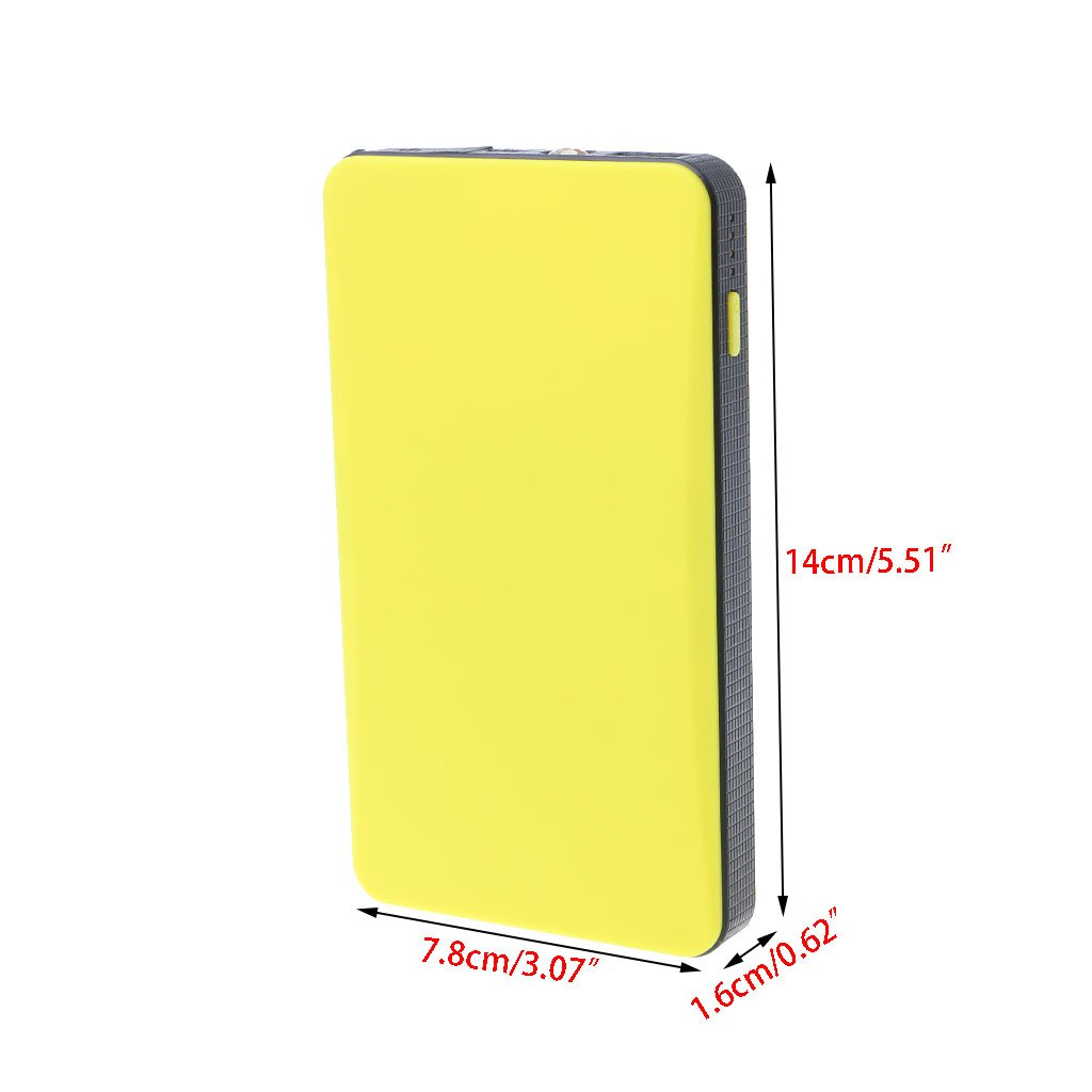 Multifunktions-Starthilfe f/ür das Auto,12/V Notfall-Ladeger/ät Batterie-Starthilfe 14x7.8x1.8cm gelb Powerbank 20000/mAh