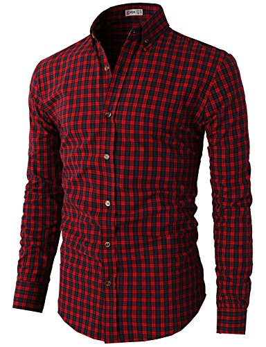 H2H Mens Various Styles Plaid Check Patterned Button Down Shirts RED Asia M (KMTSTL0320)