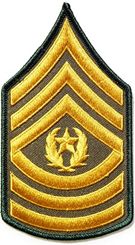 Command Sergeant Major Rank US Army Rank Chevron Military Logo Tab Jacket Uniform Patch Sew Iron on Embroidered Sign Badge ()