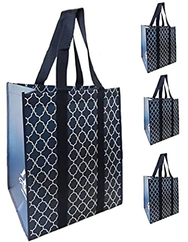 Reusable Extra Large Grocery Shopping Market Tote Bags, Reinforced Heavy Duty and Wipe Clean, Stay Open and Upright, Fold Flat (4 Pack, Navy) - Eco Large Tote Bag