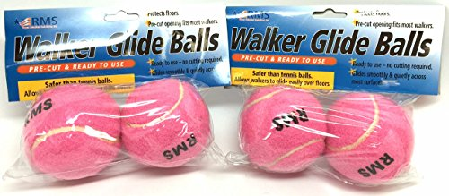 RMS Walker Glide Balls | A Set of 4 Balls | Precut Opening for Easy Installation | Fit Most Walkers (Pink)
