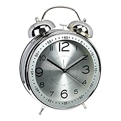 YDL Quiet Non-ticking Silent Quartz Analog Retro Vintage bedside Twin Bell Alarm Clock With Loud Alarm and Nightlight. Battery Powered(Silver)