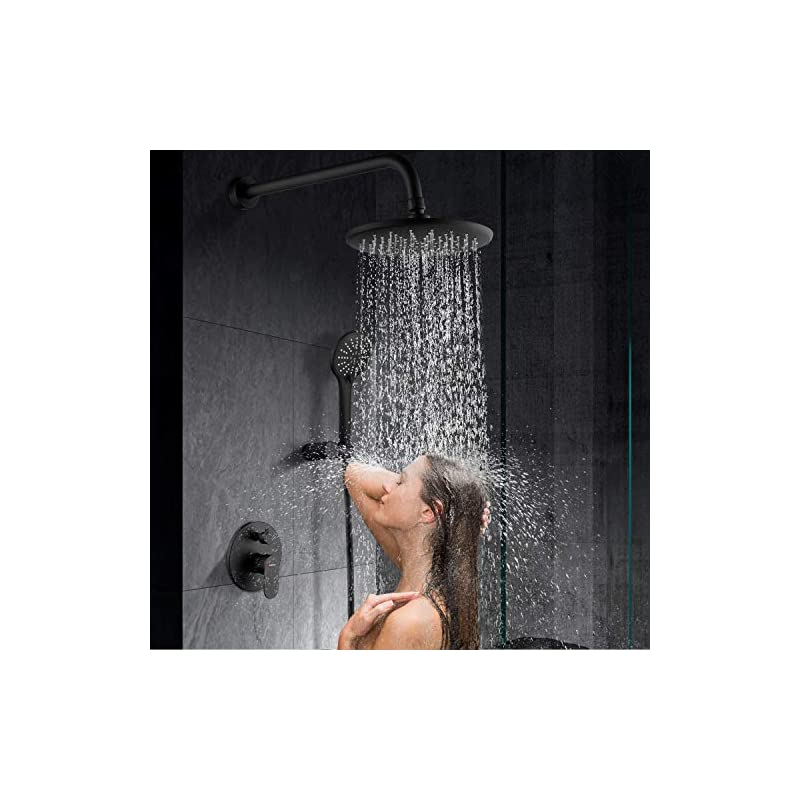 """Shower System, Wall Mounted Shower Faucet Set for Bathroom with High Pressure 8"""" Rain Shower head and 3-Setting Handheld Shower Head Set, Pressure Balance Valve with Trim and Diverter, Matte Black"""