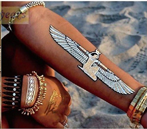 8 Tatouages éphémères métallique waterproof -Tatoo temporaire or - Bijou de peau Egypte Isis oeil