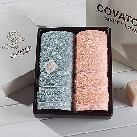 ZHFC Solid algodón engrosamiento toalla algodón hotel par toalla Set 2 34 * 75cm Gift Box Gift,Tierno verde naranja: Amazon.es: Hogar