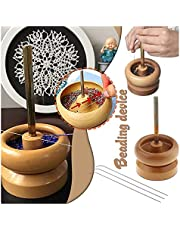 DIY Making Bead Spinner Holder Gem Workshop Wooden Crafting Project Stringing with Big Eye Needle Gifts DIY Jewelry Making Tools Wooden Bead Holder Seed Tool Supplies Crafting Bracelet