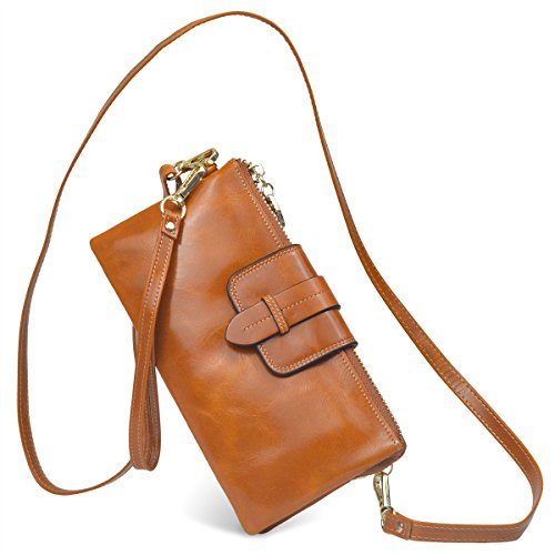 Bveyzi Women's Leather Smartphone Wristlet Clutch Wallet with Shoulder Strap (Tan) by Bveyzi (Image #1)