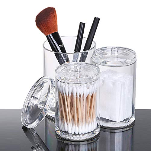 Selighting Acrylic Makeup Brush Holder Cup Organizer Case Clear Cosmetic Storage Containers Cotton Ball Swab Holder Lid (Transparent, Trio Cup) ()