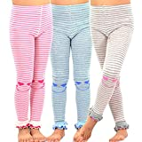 TeeHee Kids Girls Fashion Cotton Leggings(Footless Tights) 3 Pair Pack (6-8 Years, Happy Stripe)