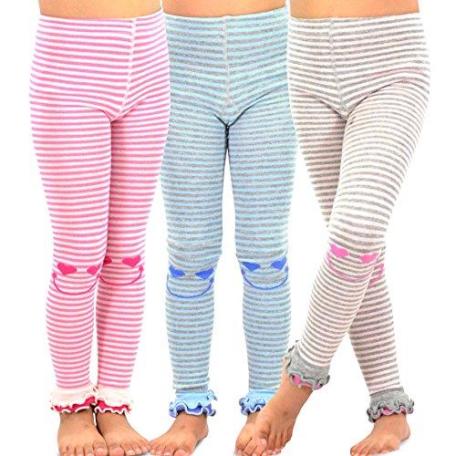 TeeHee Kids Girls Fashion Cotton Leggings(Footless Tights) 3 Pair Pack (3-5 Years, Happy Stripe)