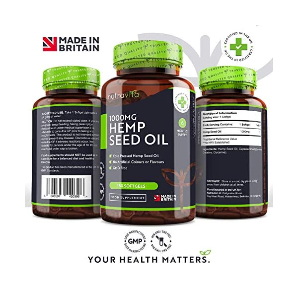 Hemp Oil 1000mg Supplement – 6 Months Supply – New Enriched Formula – 180 Softgel Capsules – Pure High Concentration Cold Pressed Hemp Oil – Rich Source of Omega 3 & 6 – Made in The UK by Nutravita