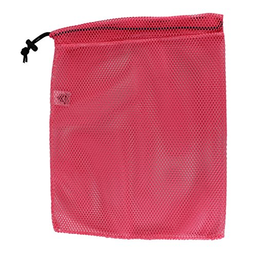 SGT KNOTS Mesh Bag (Small) 550 Paracord Drawstring Bag - Ventilated Washable Reusable Stuff Sack for Laundry, Gym Clothes, Swimming, Camping, Diving, Travel (15 inch x 22 inch - Neon Pink)