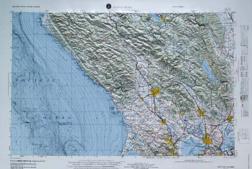 SANTA ROSA REGIONAL Raised Relief Map in the state of California with Oak Wood Frame