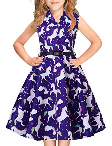 Big Girls Princess Dress Rainbow Navy Blue Unicorns Print Horse 1940s 1960s 80s Teens Junior Sleeveless Ruffles Pleated Dresses with Belt Casual Custome for Prom Dressing Up Party 12-13 Years ()