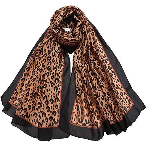 (Silk Like Scarf Large Satin Headscarf Fashion Leopard Wrap Neck Scarves for Women)