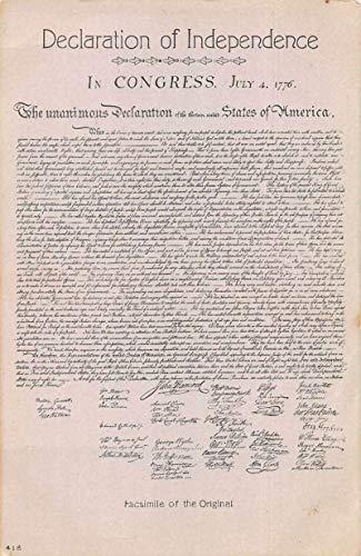 Declaration of Independence Congress Politics Patriotic Antique Postcard J81087