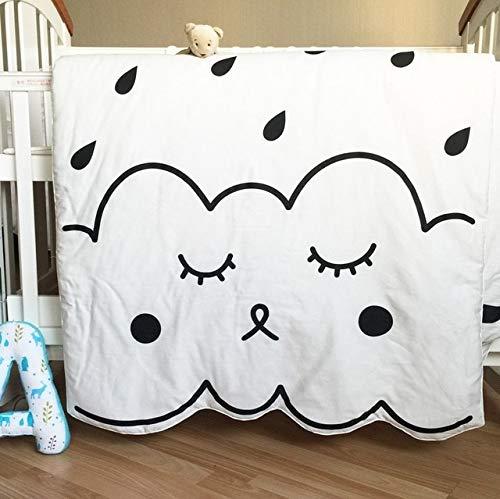DishyKooker Newborn Baby Blanket, Cotton White Black Floor Playing Mat Carpet,Cartoon Kids Summer quiltl,Size 130X90cm,550g...