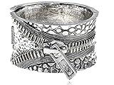 Alilang Womens Antique Silvery Tone Zipper Pull Cuff Bracelet