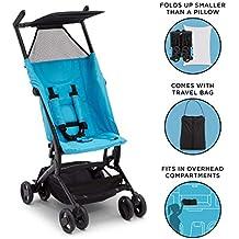 Delta Children Ultimate Fold N Go Compact Travel Stroller | Foldable Travel Bag | Umbrella Canopy | Storage Basket | Aqua Blue