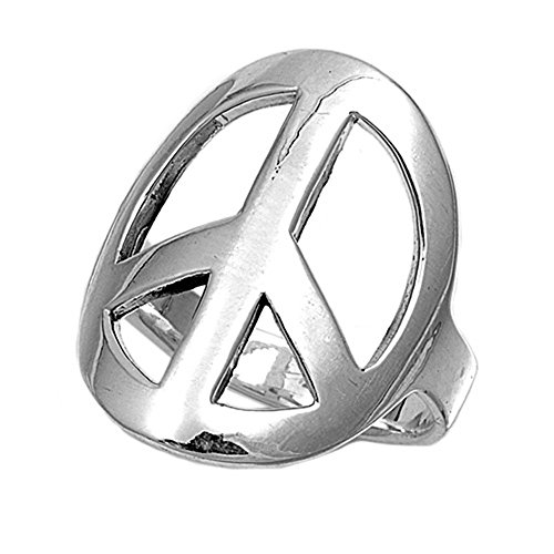 925 Sterling Silver Simple Large Peace Symbol Ring Size 9