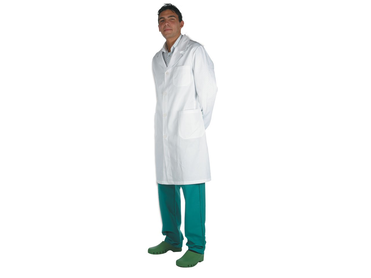Camice Bianco, Cotone/Poliestere, Uomo, Taglia S, camice da laboratorio, medico, studente medicina, ospedale GIMA 21412