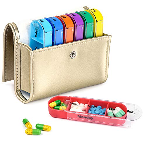 Redting Weekly Travel Pill Organizer - Prescription and Medication Wallet Pill Box Reminder, Pill Container Dispenser Case, Vitamin Caddy Organizer, for 4 Times A Day, 7 Days a Week (Silvery) ()