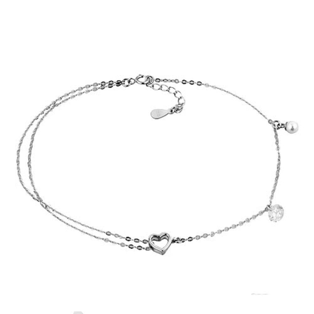ReisJewelry 925 Sterling Silver Heart Ankle Bracelets Ajustable Chain Sandal Beach Anklet (Love Heart)
