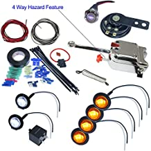 UTV Heavy Duty Lever Switch Turn Signal Kit with Horn and Hardware (With License Plate LED, Round LED Lights)