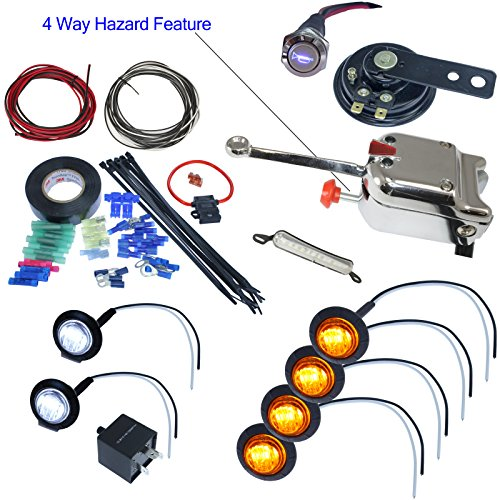 Advance Mcs Electronics Utv Heavy Duty Lever Switch Turn Signal Kit With Horn And Hardware  With License Plate Led  Round Led Lights