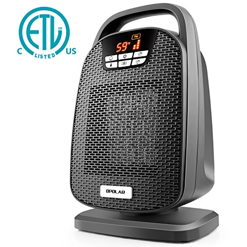 Ceramic Console (Ceramic Space Heater, Indoor Digital Oscillating Personal Heater with Over-Heat and Tilt Protection, Carrying Handle, 1500/1000 Watt Shut Off and Turn on Timer, Quiet Operation for Home, Office)