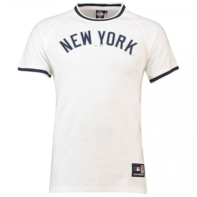 Majestic T-Shirt MLB New York Yankees Freman Long Line Bianco Blu Formato  62086a1e406b