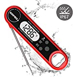 "SOOMES Instant Read Meat Thermometer IP67 Waterproof Electric Digital Food Cooking Thermometer 2"" Bright LCD Backlit Bottle Opener for Toaster BBQ Grilling Baking Meal"