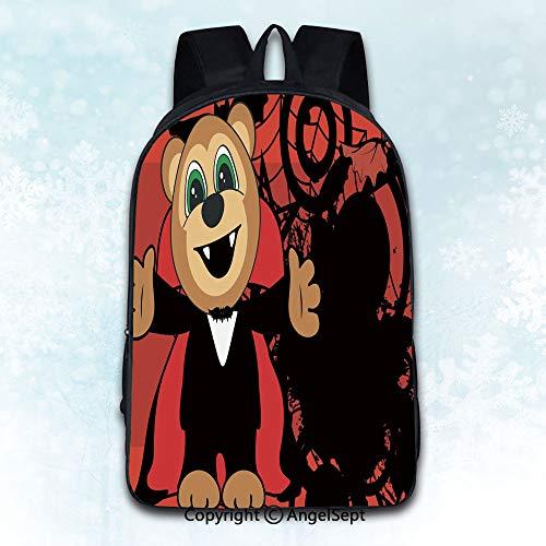 Women Backpack Oxford Cloth Elegant Shoulder Bag,cute little monkey hug dracula costume halloween backgorund Theme Artwork Print Decorations Illustr Multicolor 16 inches,Backpacks for Teen Girls]()