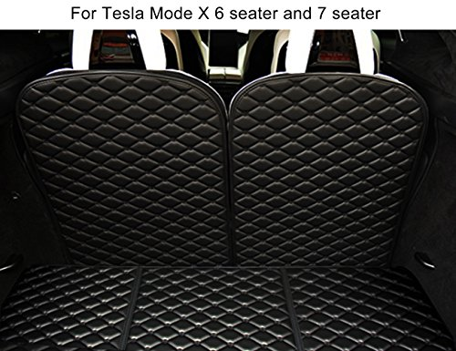 Topfit Front and Rear Trunk Mat and 3rd Row Seat Back Protector Mat Compatible Model X 6 seat and 7 seat