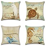 "Decorative Set of 4 Animal Theme Throw Pillow Cover Cotton Linen Cushion Covers Without pillow 18"" x 18"" 45cm x 45cm-Seahorse, Sea turtle, Conch,Seabird"